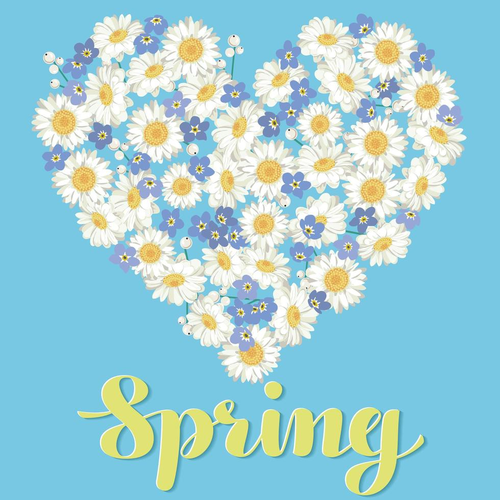coração feita com flores e rotulação primavera vetor