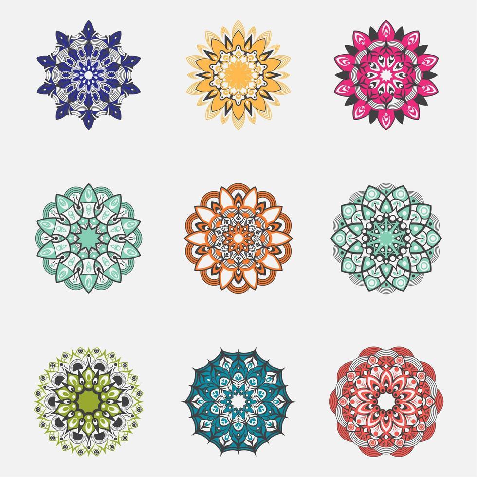 conjunto de mandala colorida vetor