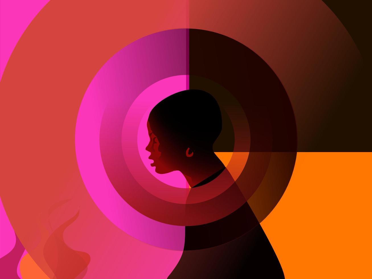 garota americana africana na frente do fogo vetor