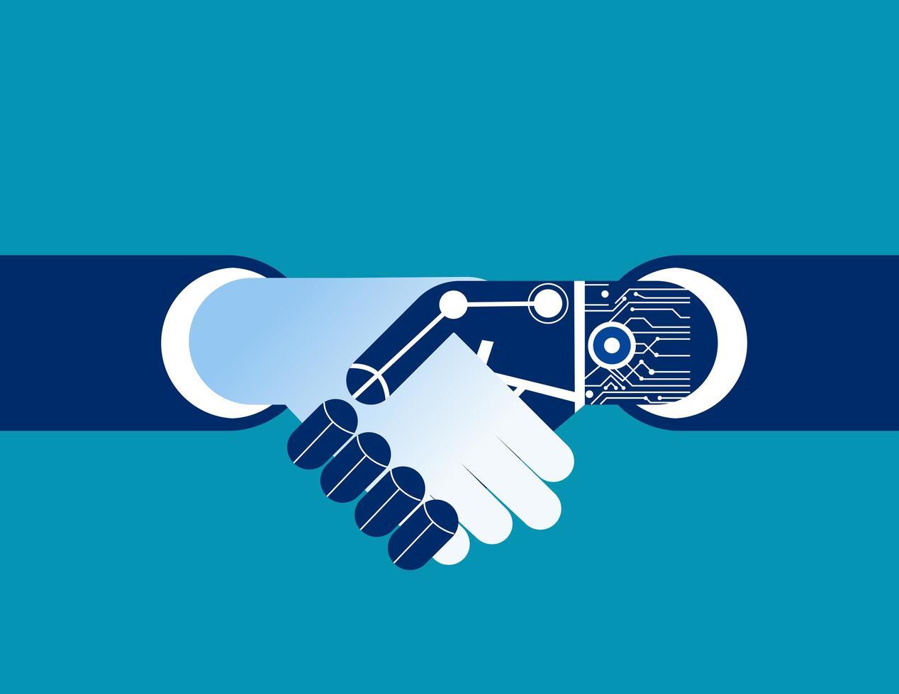 empresário e robô, apertando as mãos vetor