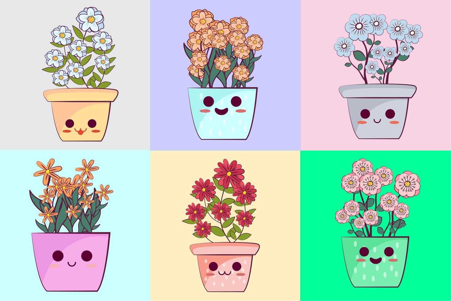 conjunto de vasos de flores kawaii vetor