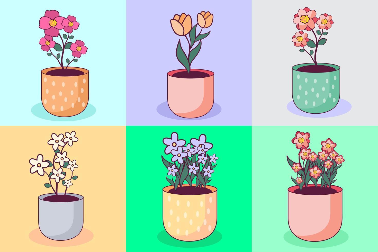 coleção de vaso de flores bonito vetor