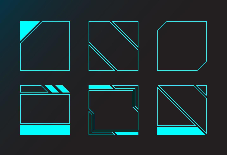 janelas de interface de design de ângulo de moldura quadrada vetor