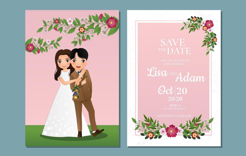 floral salvar a data com a noiva e o noivo ao ar livre vetor