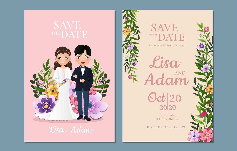 floral salvar os cartões de data com a noiva e o noivo vetor