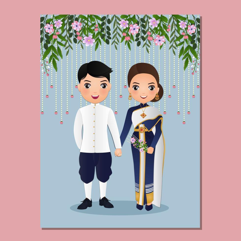 cartão decorativo com tailandês noiva e noivo vetor