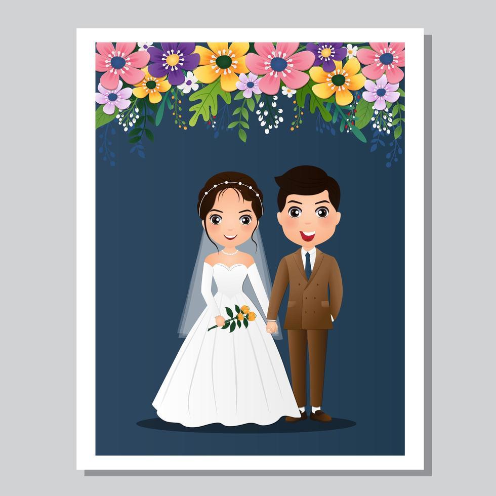 noiva e noivo sob flores vetor