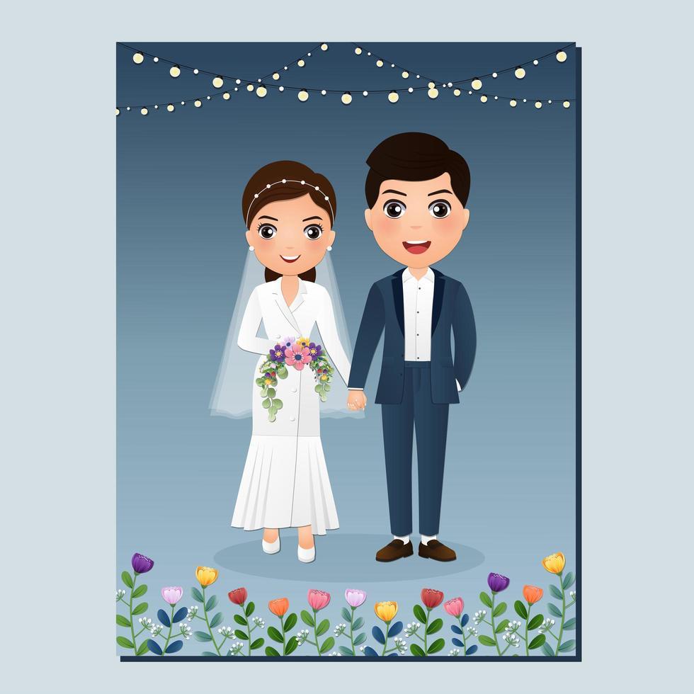 cartão com a noiva e o noivo sob luzes vetor