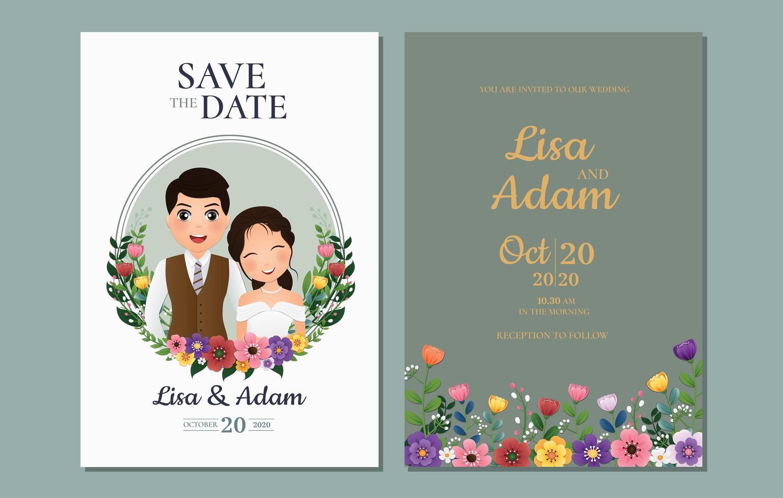 salvar a data com a noiva e o noivo no quadro de círculo vetor