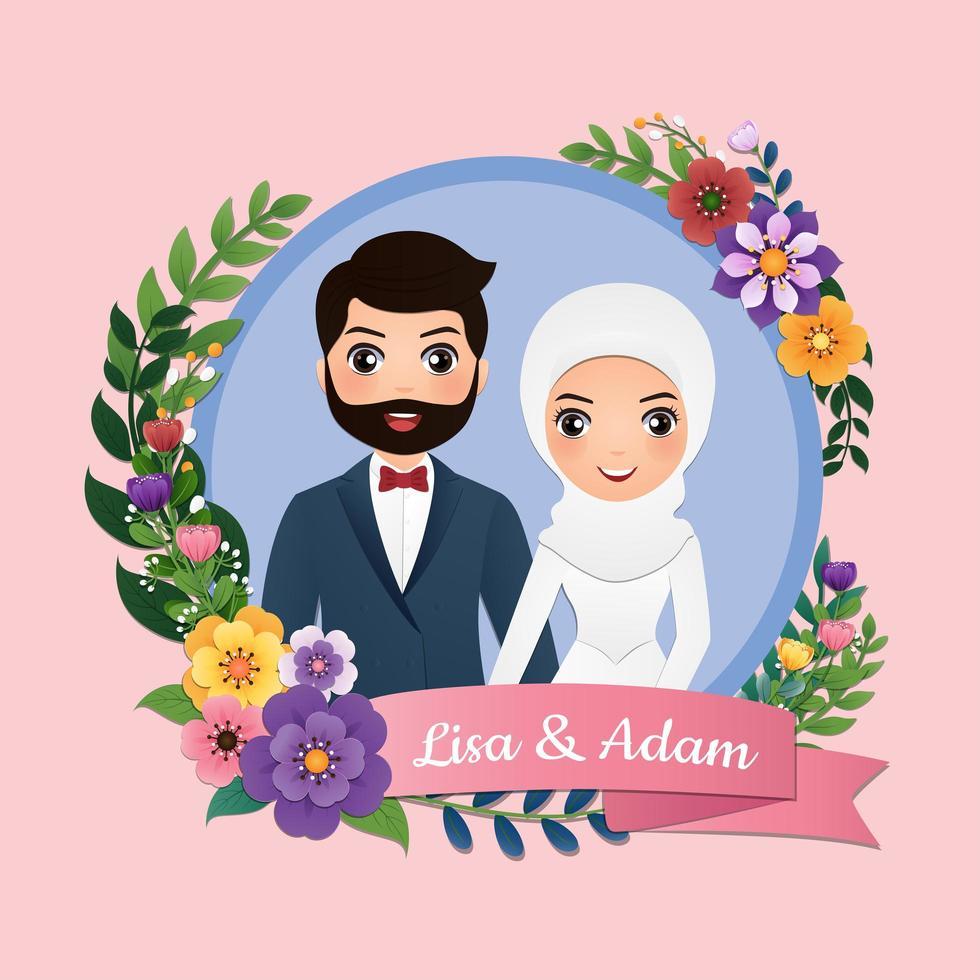 quadro de círculo floral com noiva e noivo vetor