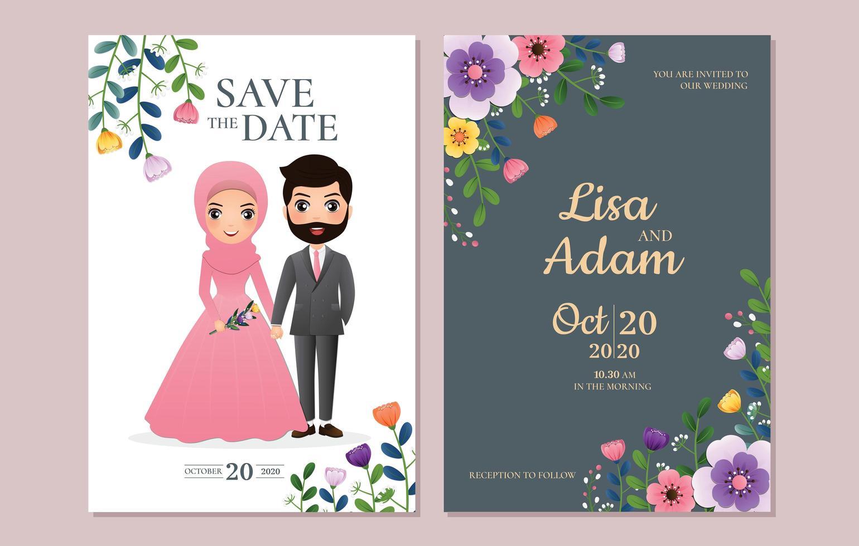 salvar o cartão de data com casal e flores vetor