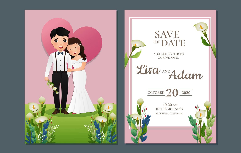salvar a data com a noiva e o noivo na grama vetor