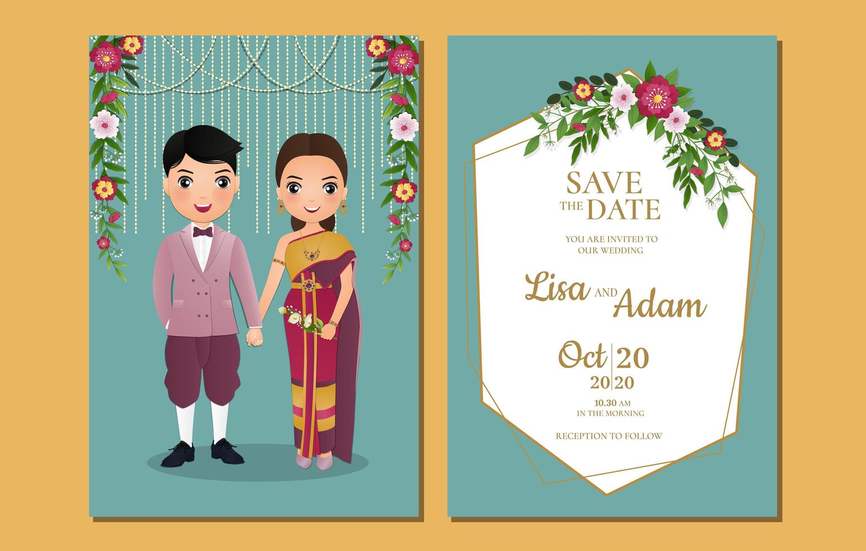 casal tailandês e decorações em salvar o cartão de data vetor