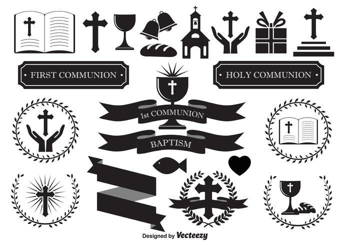 Elementos de design religioso vetor