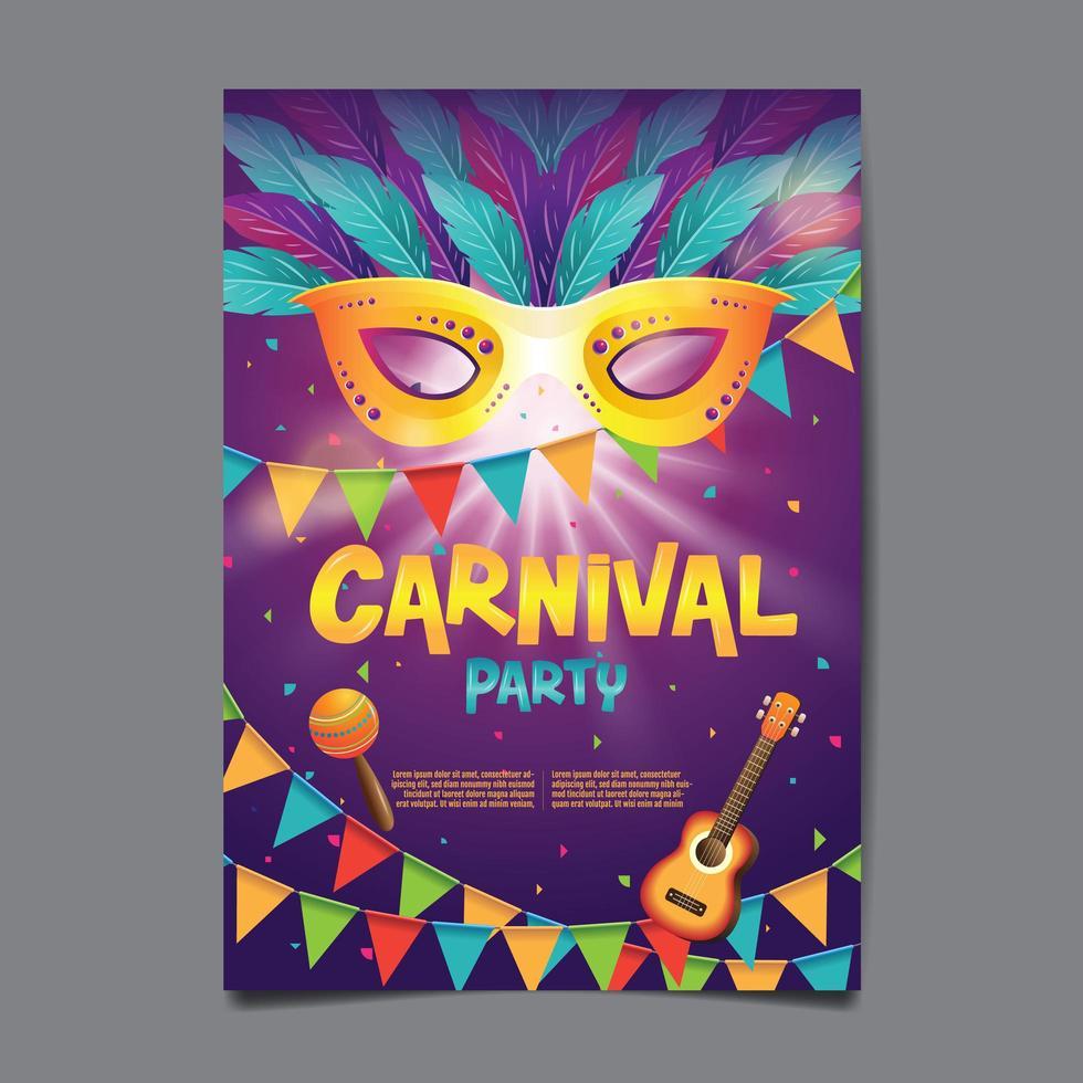 cartaz de festa de carnaval vetor