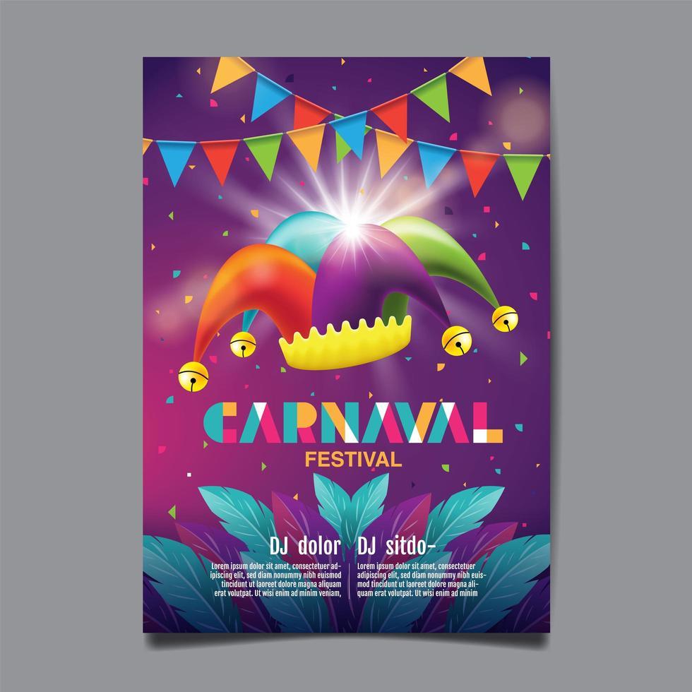 cartaz de festa de carnaval brasileiro vetor