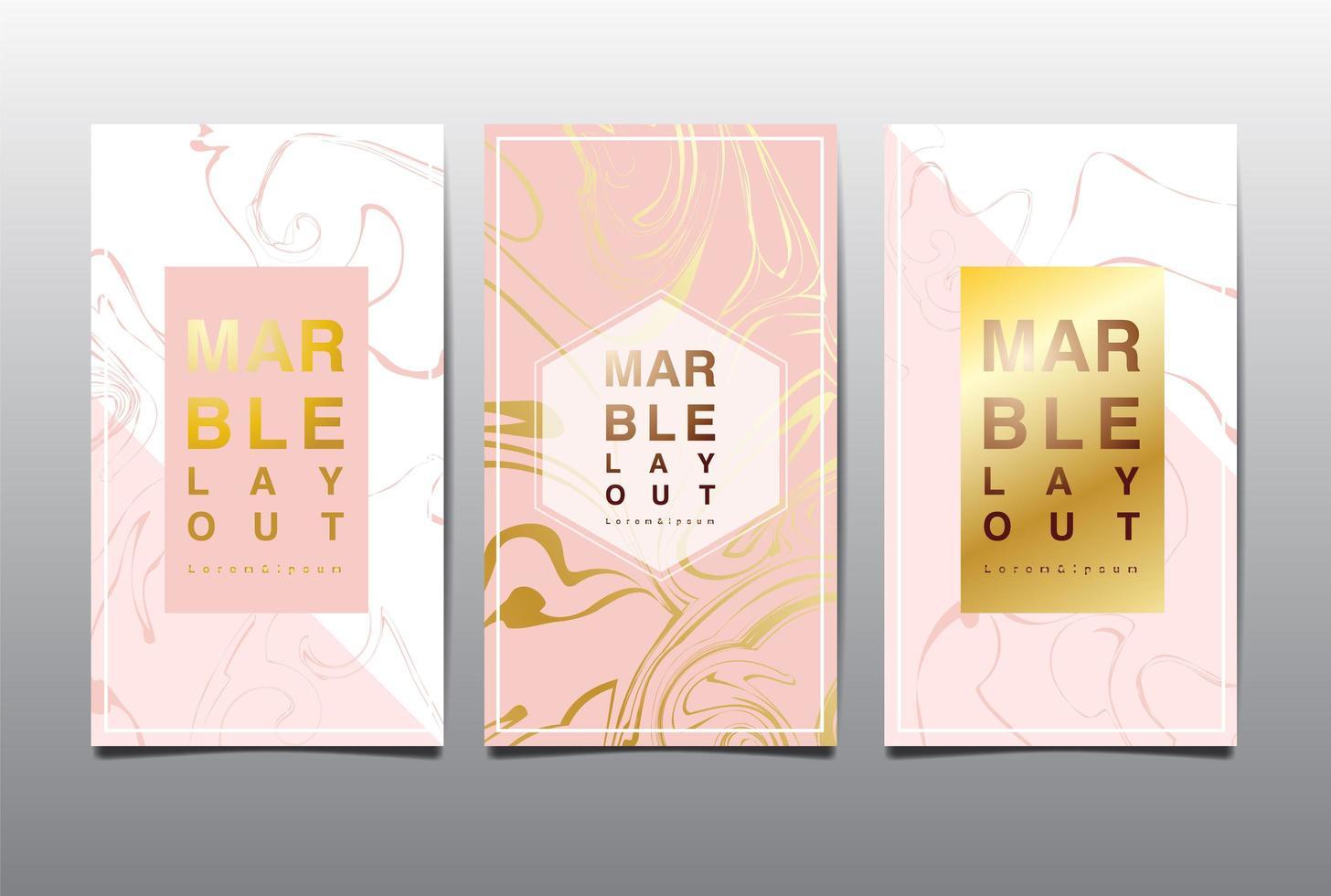rosa e branco cartão vertical definido com marmoreio de ouro vetor