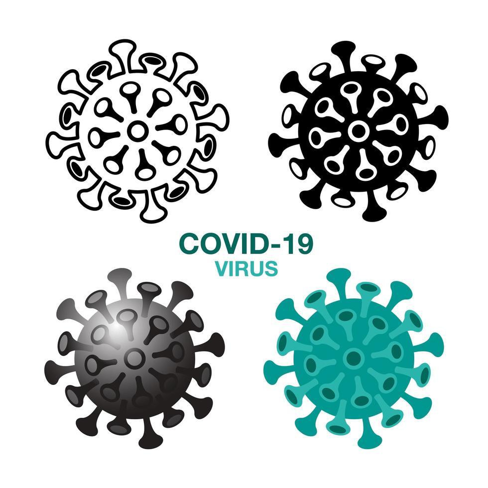 conjunto de ícones de germe de vírus covid-19 vetor