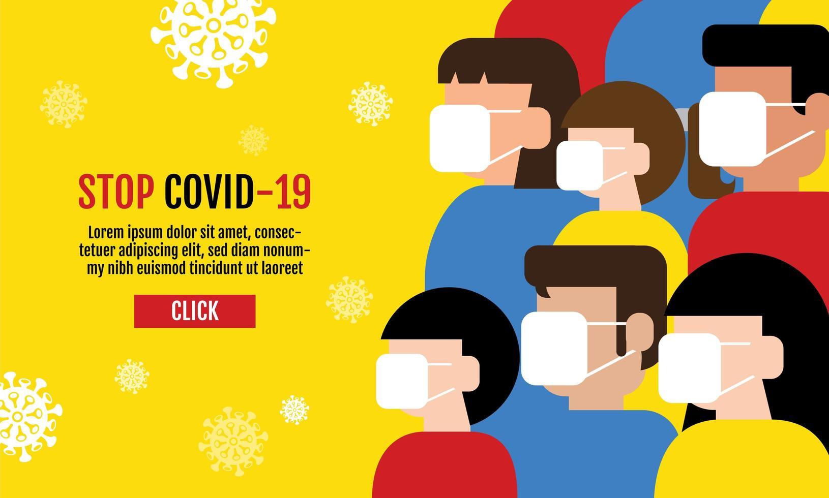 pessoas vestindo máscaras covid-19 design vetor