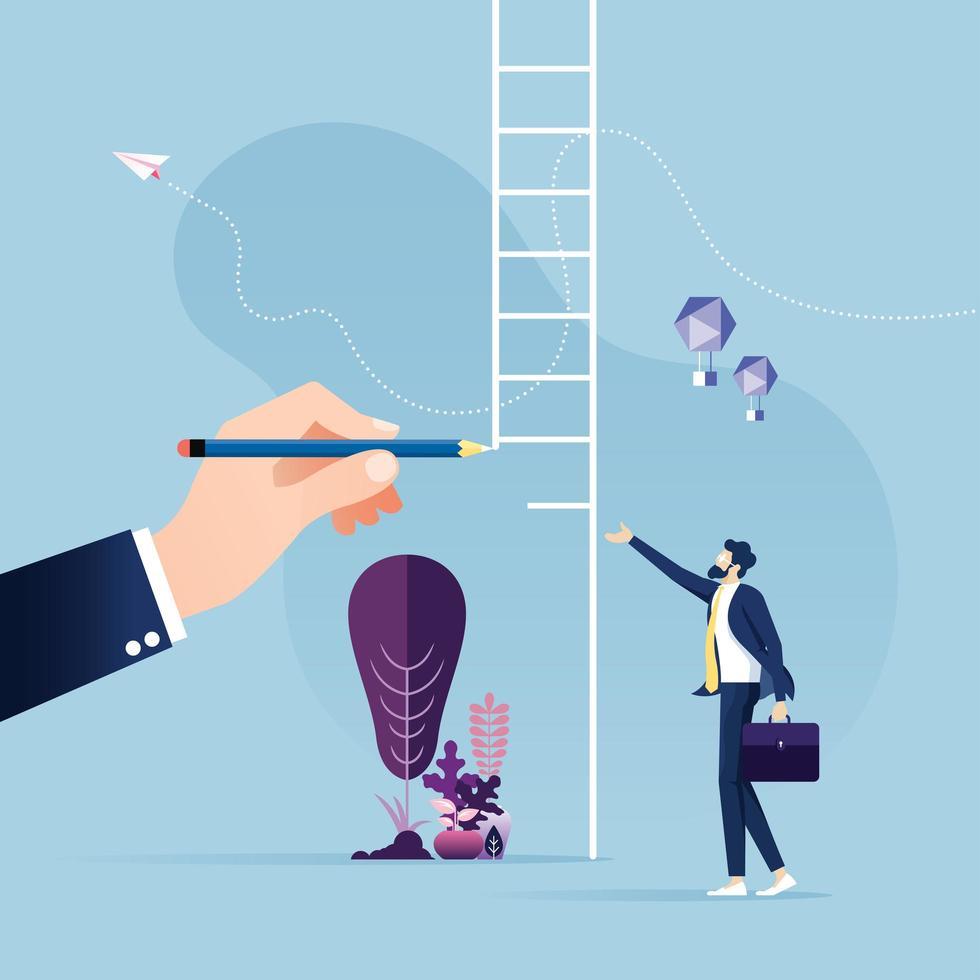 mão grande escada de desenho para um empresário vetor