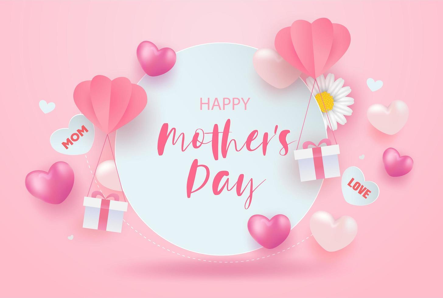 fundo de venda feliz dia das mães rosa vetor