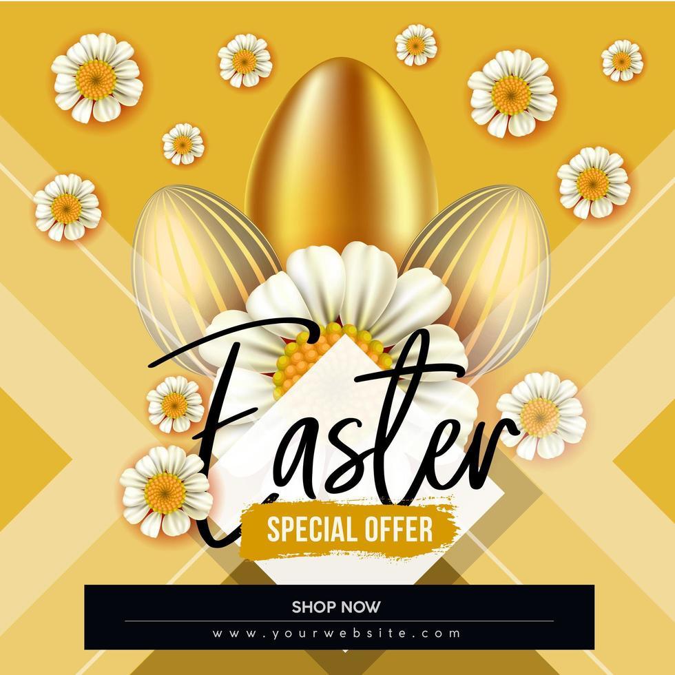 cartaz de venda de Páscoa em ouro com flores e ovos vetor