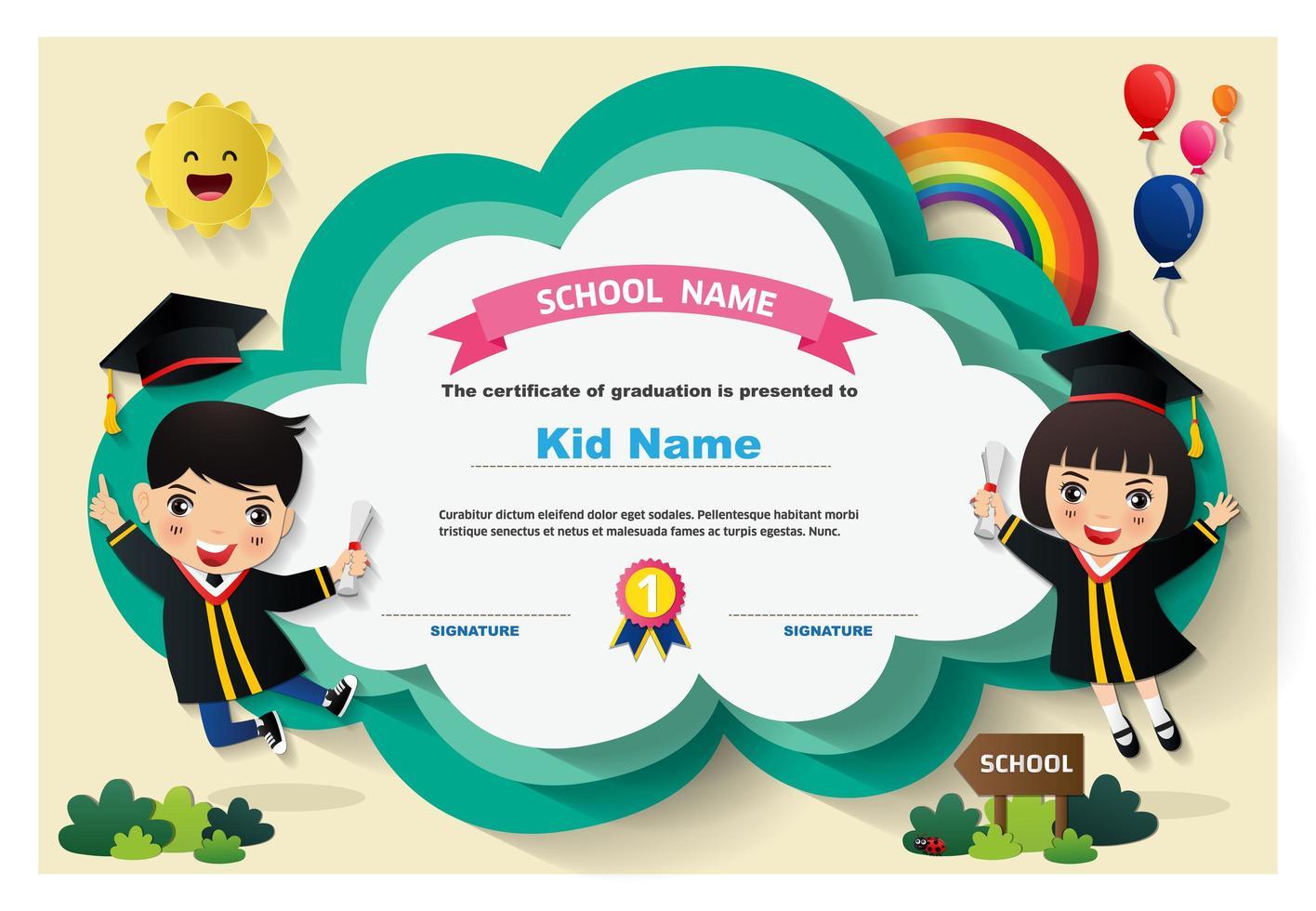 certificado de diploma de crianças prées-escolar vetor