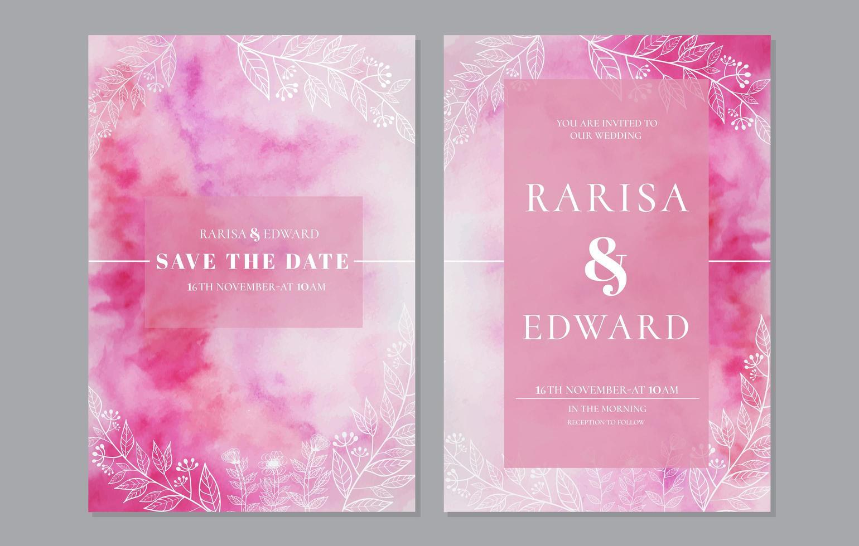 aquarela rosa salvar a data definida com folhagem vetor