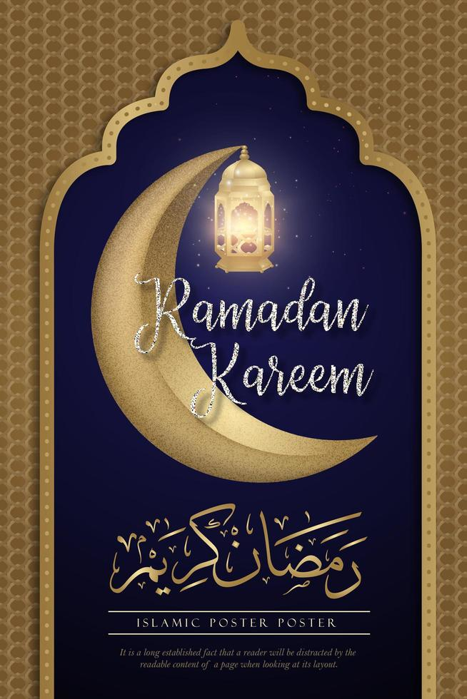 lua crescente e lanterna ramadan kareem poster vetor