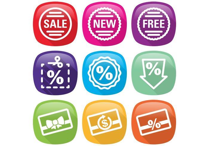 Vetores de ícone de porcentagem plana