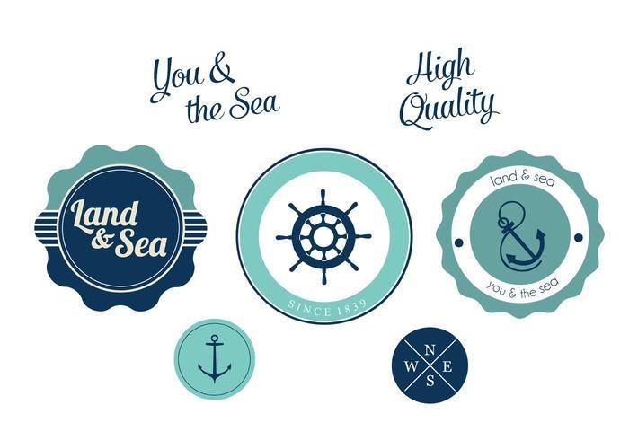 Rótulo de vetor náutico livre definido para os amantes do mar