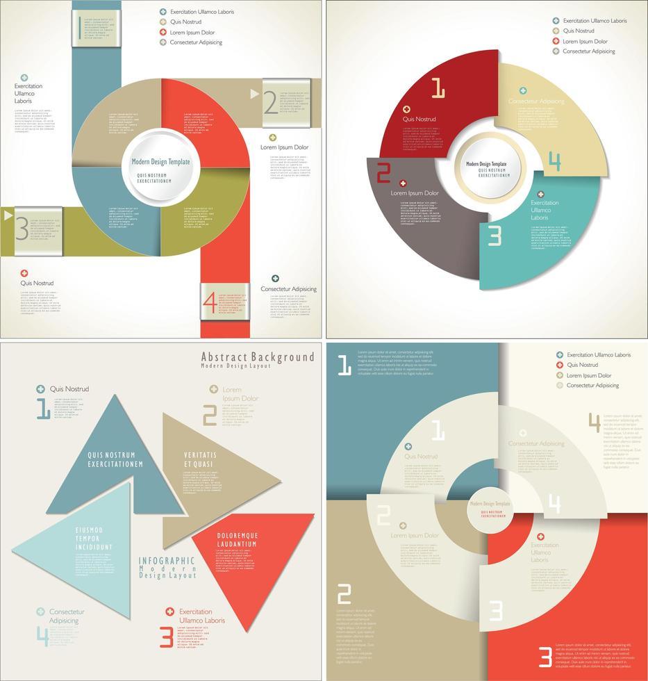 conjunto de modelo de infográfico de estilo de papel em camadas vetor
