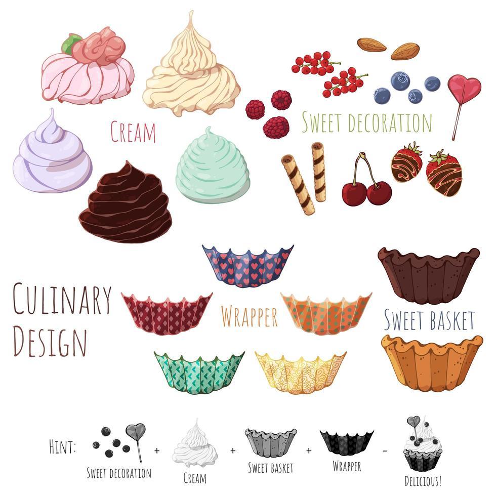 design culinário doce buskets vetor