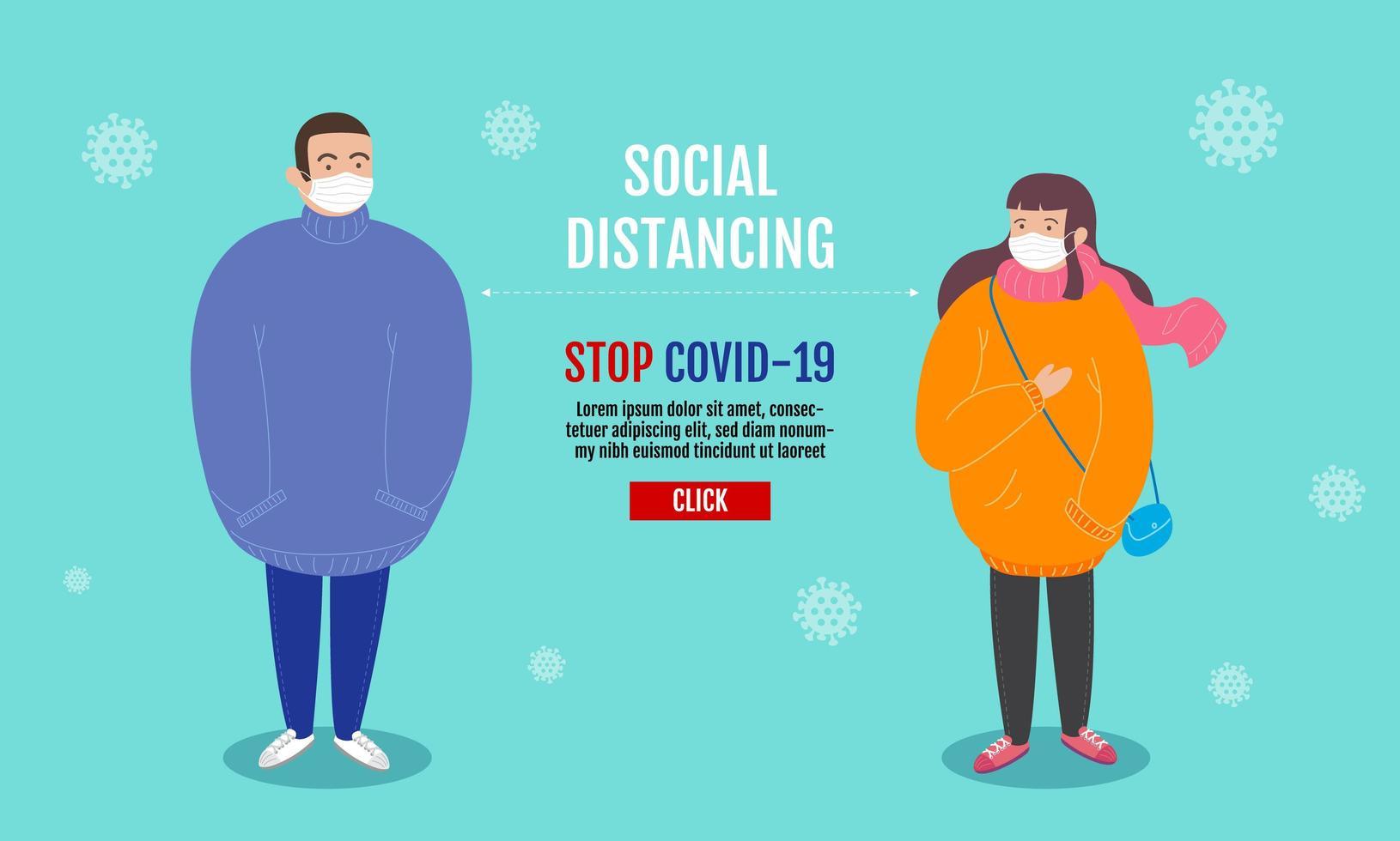 página de destino para distanciamento social vetor