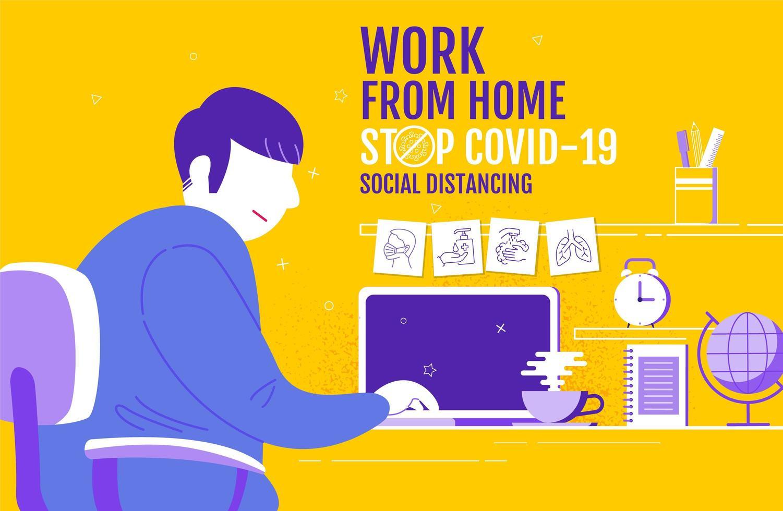 cartaz amarelo com homem trabalhando em casa vetor