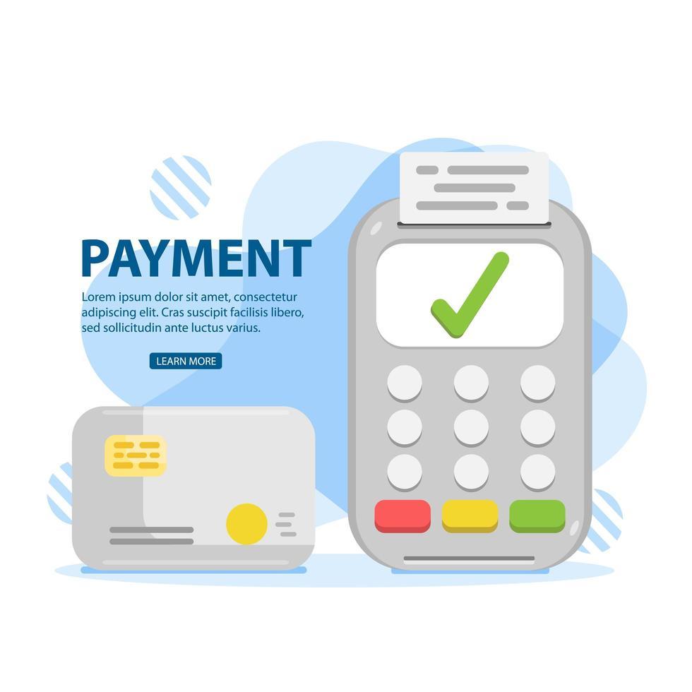 pagamento com cartão de crédito aprovado usando o terminal pos vetor