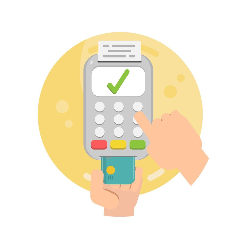 mãos segurando um cartão de crédito usando o terminal pos vetor