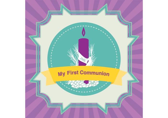 Primeiro cartão de comunhão vetor