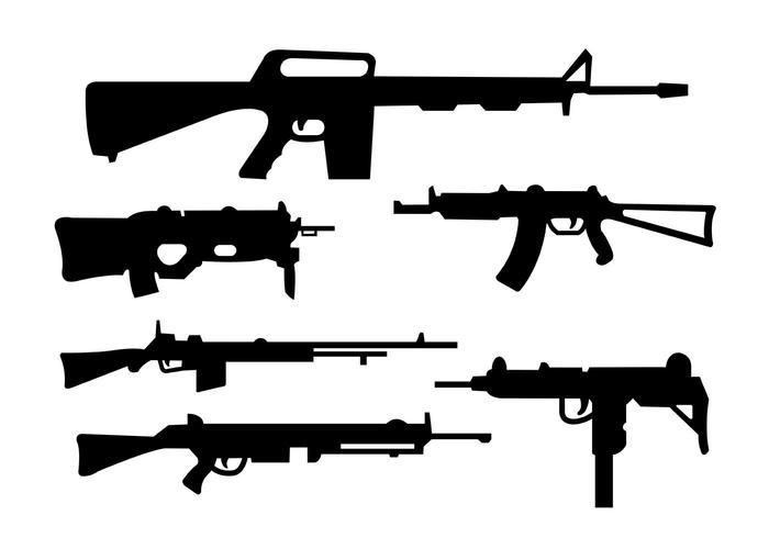 Coleção de rifles e formas de arma vetor