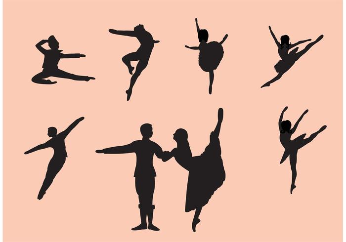 Conjunto de Silhuetas de Dançarino de Bailarino de Nutcracker vetor