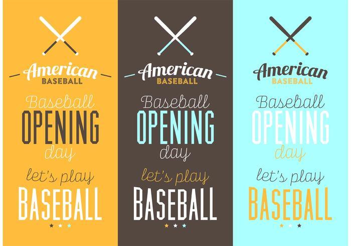 Cartazes Tipográficos De Basebol vetor