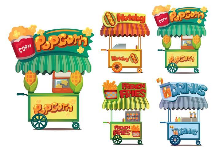 Vetores do carrinho de comida
