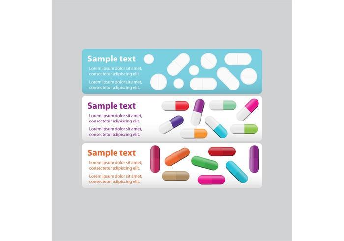 Banners de pílulas brancas vetor