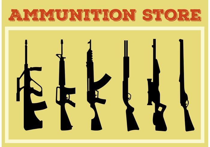 Coleção de arma e arma vetor