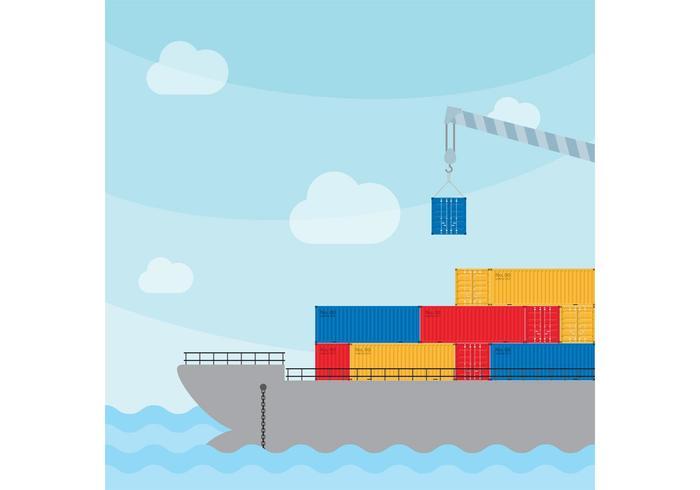 Navio de carga com guindaste vetor