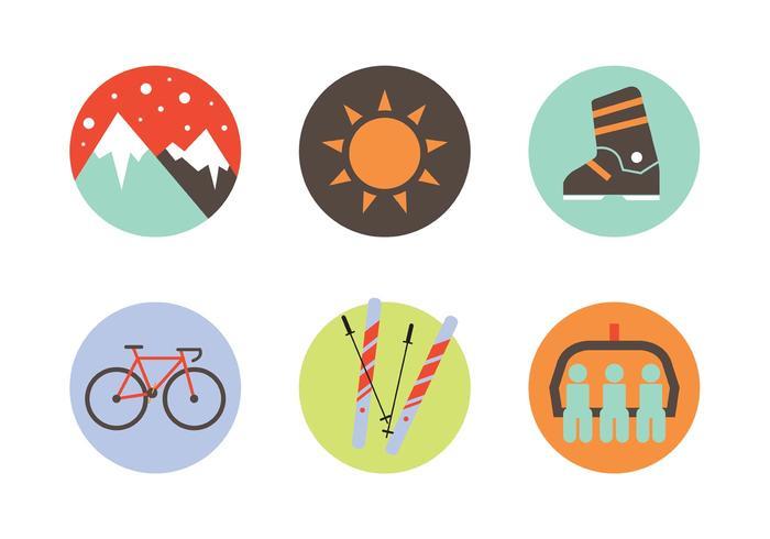 Conjunto de ícones de esportes de inverno vetor