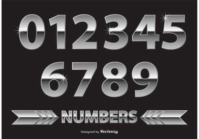 Números de cromo / metal vetor