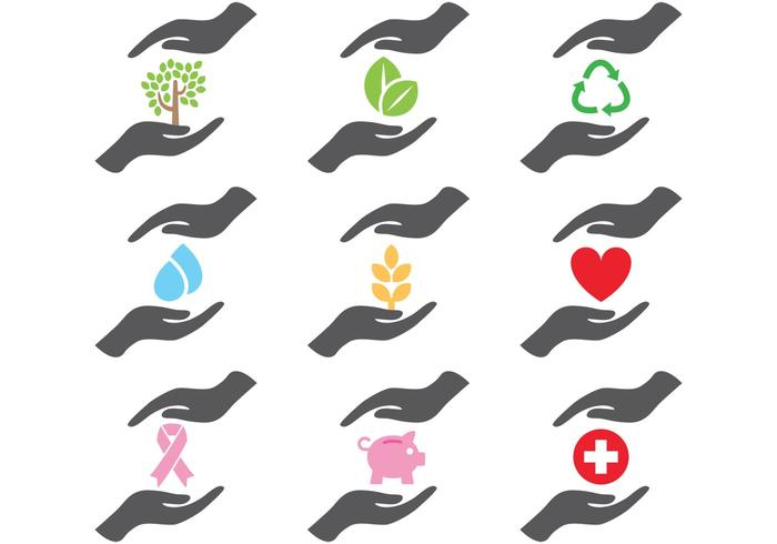 Helping Hands Icons vetor