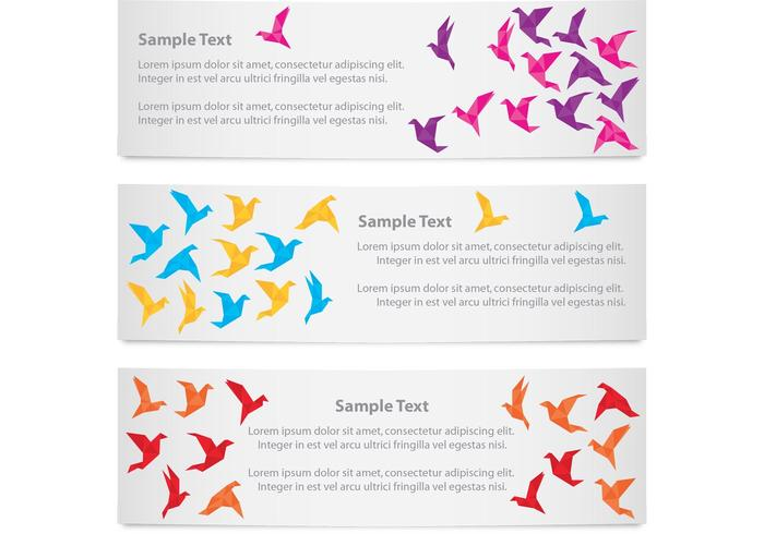 Banners pássaros de origami vetor