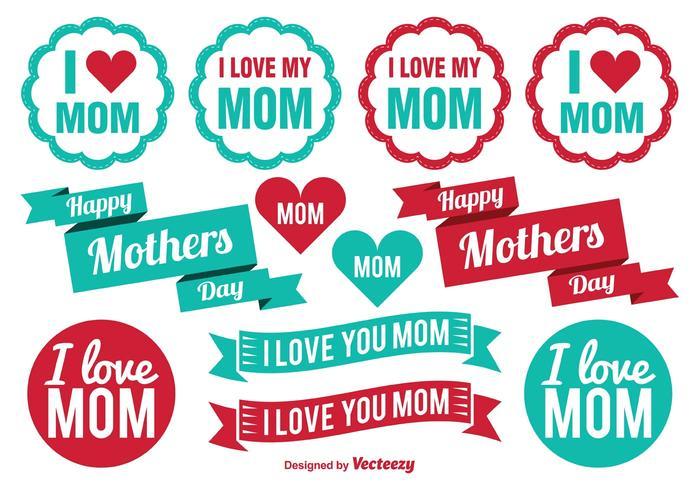 Etiquetas do dia das mães vetor